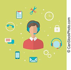 Concept of call center with operator woman in headset , helpdesk