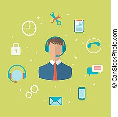 Concept of call center with operator man in headset , helpdesk s