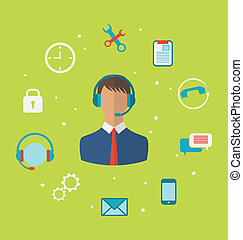 Concept of call center with operator man in headset , helpdesk service