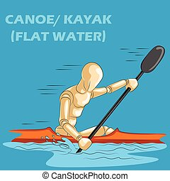 Concept of Canoe or Kayak with wooden human mannequin