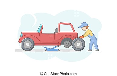 Concept Of Car Repair Shop. Cheerful Mechanic In Uniform Is Changing Tires On Retro Vehicle Using Tools And Car Lift. Male Character Is Fixing The Car. Cartoon Linear Outline Flat Vector Illustration