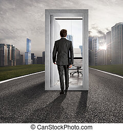 Concept of career advancement and success. Placement in the professional workplace