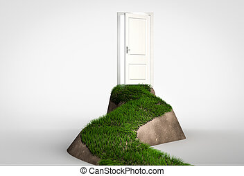 Concept of challenge and opportunity. Grass footpath leading to open door on hill