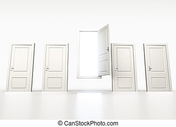 Concept of chance and opportunity. Row of shut white doors. Light shining through open one