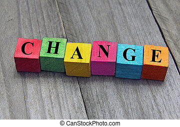 concept of change word on wooden cubes