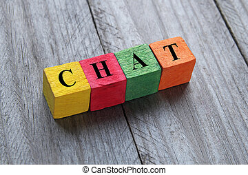 concept of chat word on wooden cubes
