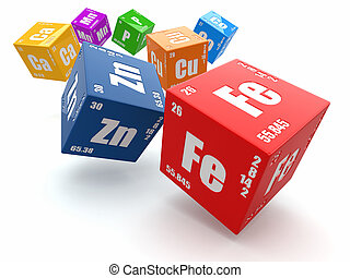 Concept of chemistry. Periodic table of element on cubes. -...