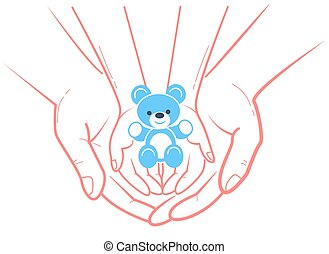 concept of child protection toy bear