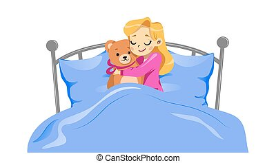 Concept Of Childhood. Young Happy Girl Lying With Teddy Bear In A Bed. Girl Is Hugging Toy Lying On The Bed Under Blanket. Brown Teddy Bear With Pink Ribbon. Cartoon Flat Style. Vector Illustration