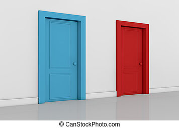 concept of choice - view of a room with two doors of...