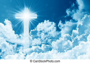 Concept of christian religion shining cross on the background of cloudy sky. Sky with cross and beautiful cloud. Divine shining heaven, light. Peaceful religious background
