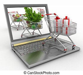 Concept of Christmas online shopping. 3d illustration. Laptop computer  with festive shopping carts on white background