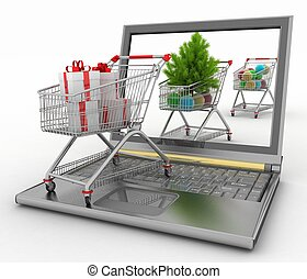 Concept of Christmas online shopping.