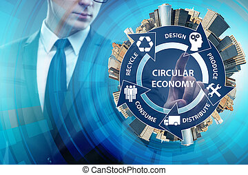Concept of circular economy with businessman