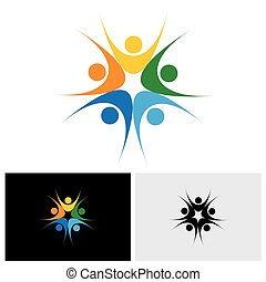 concept of close group of people as a happy lively community - vector logo icon