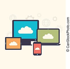 Concept of cloud service and mobile devices, trendy flat style