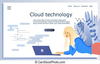 Concept of cloud technology, computer technology. Vector flat illustration. Pretty blond hair girl laying with a laptop. Template of landing page. Header for website
