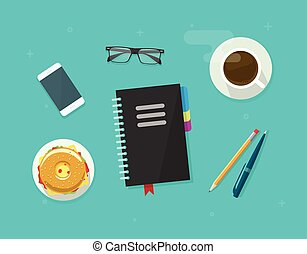 Concept of coffee break time, breakfast, working on organizer notebook