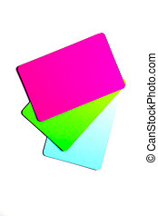 Concept of color cards on white background three colors pink, green, blue isolate on white background