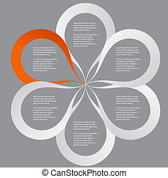 Concept of colorful circular banners in flower form for different business design. Vector illustration