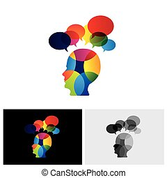 concept of colorful face with puzzles, questions, doubts, ideas