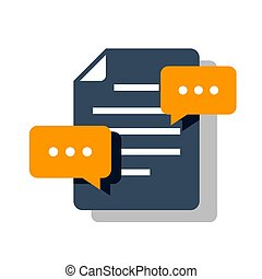 Concept of comments to the documents. Speech bubble on the background of the document icon. Flat vector illustration isolated on blue background.
