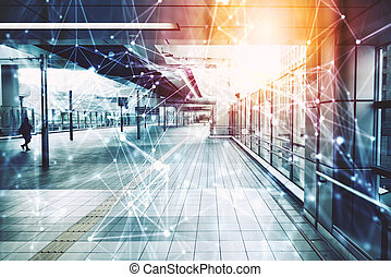Concept of communication and technology. Modern architecture with light and network effects