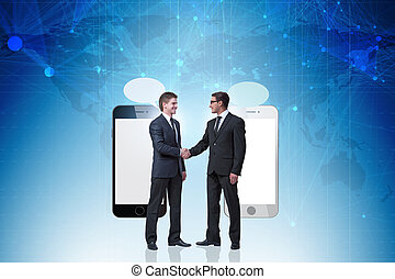 Concept of communication with businessmen handshaking