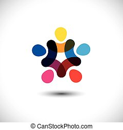Concept of community unity, solidarity & friendship - vector gra