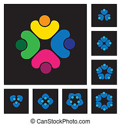 concept of community unity, solidarity & people - vector icons