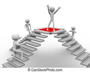 concept of competition. 3d men achieving target