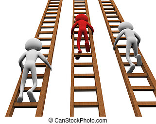 Concept of competition - 3d render of men climbing ladders ...