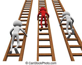 3d render of men climbing ladders for winning
