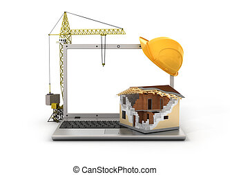Concept of computer design. House in process of building with tower crane on the laptop with white blank screen and protective helmet.