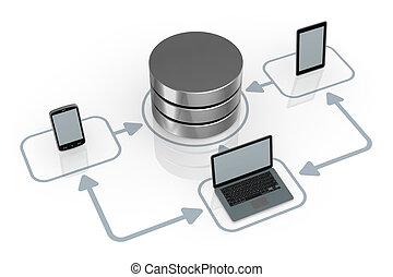 concept of computer network - database symbol connected to ...
