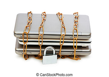 Concept of computer security with laptop and chain