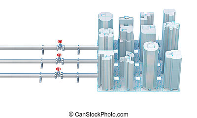 concept of connecting pipes with valves to the city