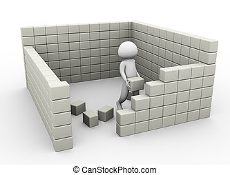 Concept of construction - 3d man constructing wall with the...