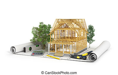 Concept of construction. 3d render of house in building...