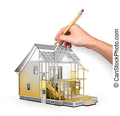 Concept of construction and architect design. 3d render of house in building process with tree. Hand drawing sketch. We see constituents of roof frame and insulation layer.