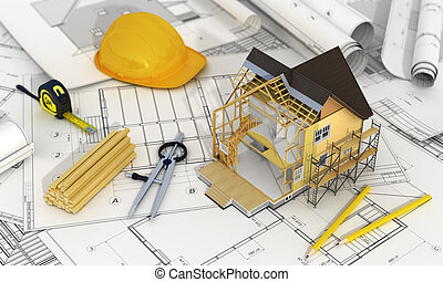 Concept of construction and architect design. 3d render of house in building process with tree, calculator and pencils on the blurred blueprints. We see constituents of roof frame and insulation layer.
