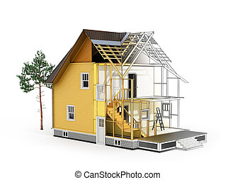 Concept of construction and architect design. 3d render of...