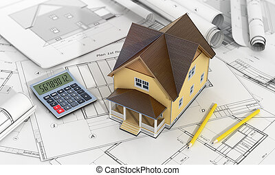 Concept of construction and architect design. 3d render of house with calculator and pencil on the blueprints.