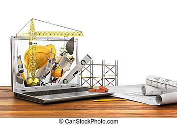 Concept of construction. Building tools in laptop screen