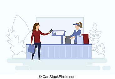 Concept Of Coronavirus, Precautionary Measures Of Virus Infection. Cashier Serve A Customer In Supermarket Sitting Behind Protective Screen. Woman Pay By Card For Purchases. Flat Vector Illustration