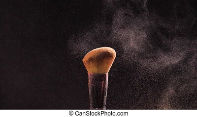 Concept of cosmetics and beauty. Make-up brushes with pink...