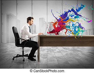 Concept of creative business with businessman working with laptop