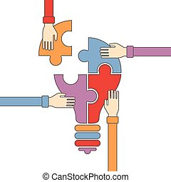 Concept of creative teamwork in flat outline style
