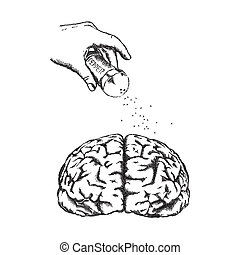 Concept of creativity with vector human brain.