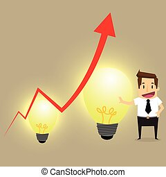 Concept of crisis problems with businessman that helps statistics with idea